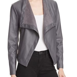 BB Dakota Draped Faux Leather Blazer